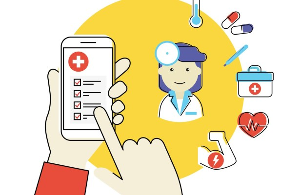 Smartphone showing how it can be connected to all elements of healthcare