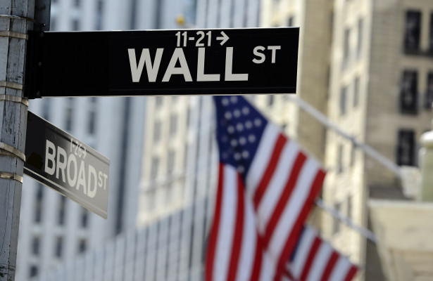 Wall Street and American Flags, depicting the U.S. Stock Market